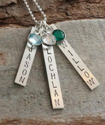 Mothers Hand Stamped Tag Necklace
