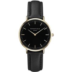 The Tribeca Black and Gold Watch by Rosefield (€94) ❤ liked on Polyvore featuring jewelry, watches, accessories, black, bracelets, black and gold watches, metal watches, rosefield watches, black gold jewelry and black gold watches