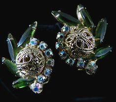 Vintage Earrings Gorgeous Gold Tone Filigreed Bead and Navettes | eBay