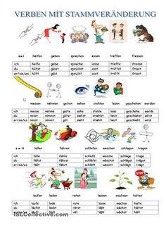 Hier werden verben, die bei der Praesens-Konjugation ihren Stammvokal aendern, möglichst mit Bildern beschrieben und deren imperativformen aufgeklaert. - DaF Arbeitsblätter