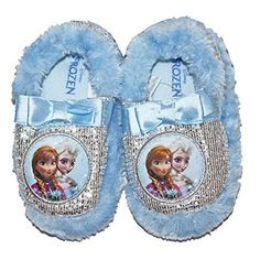 Her toes will be far from frozen when she's wearing this Disney girl's scuff slipper. Featuring embroidery and graphics on the toe of Anna and Elsa from the hit movie Frozen, this house slipper has faux fur trim around the cuff to help keep out the chill. A glittery upper combines with metallic thread to add some extra sparkle, while grippers on the bottom help prevent slips when she's turning the house into an ice castle. Glittery upper Faux fur trim, metallic thread #Slippers