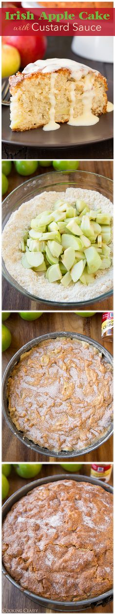 Irish Apple Cake with Custard Sauce - this cake is DELICIOUS! No mixer required and you don't have to wait for the cake to cool to slice and eat!