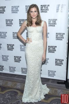 """""""Girls"""" actress Allison Williams attends Museum Of The Moving Image Honors Charlie Rose and Richard Plepler in New York City in a Dolce&Gabbana white lace gown."""
