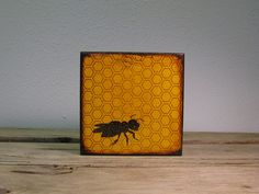 Honey Bee Painted Art Block Wall by MatchBlox on Etsy, $29.00