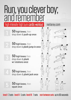 "Exercise workouts based on themes such as films / TV shows /Games... ""Run, you clever boy, and remember"" workout"