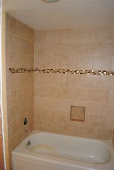Mosaic Strip In The Tub Shower Wall Tile Would Have Added Accent Tiles At