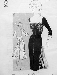 1950s Stunning Cocktail Evening Dress Pattern SPADEA N-1021 American Designer Charles Le Maire Low Cut Sq Neckline Fluttering Drapery  Figure Show Off Party  Dress  Bust 35 Vintage Sewing Pattern FACTORY FOLDED