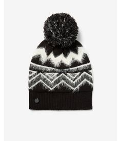 5bbb98a72b5 Metallic Fair Isle Feather Pom Beanie Women s Black