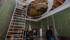 """""""Met vereende krachten is De Wits """"Apollo omringd door de negen muzen"""" terug naar het Mauritshuis gebracht. Weer een stapje dichterbij de opening!"""" (Mauritshuis)"""