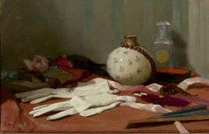 Salomon Garf (Amsterdam 1879-1943 Auschwitz (Polen)) Stilleven met witte handschoenen, vaasje en waaier - Kunsthandel Simonis en Buunk, Ede (Nederland).