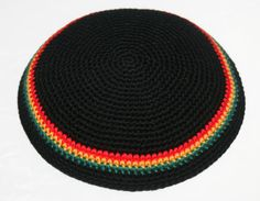 kippah black red gold green for custom order by rainbow6colors