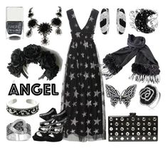 """""""Celestial Glitter"""" by yournightnurse ❤ liked on Polyvore featuring HUISHAN ZHANG, Edie Parker, Curiology, Malin + Mila, Nails Inc., Bling Jewelry, Philippe Ferrandis, Fendi and Carolina Glamour Collection"""