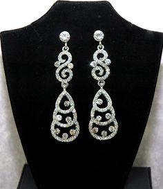 SALE Crystal Rhinestone Earrings - Wedding Dangle Earrings