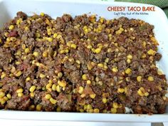 This amazing entree has a Bisquick and cilantro crust, a beef, corn and salsa layer then topped with cheddar cheese. Easy and delicious. Mexican Food Recipes, Dog Food Recipes, Cooking Recipes, Mexican Meals, Mexican Dishes, Beef Recipes, Salad Recipes, Homemade Taco Seasoning, Homemade Tacos