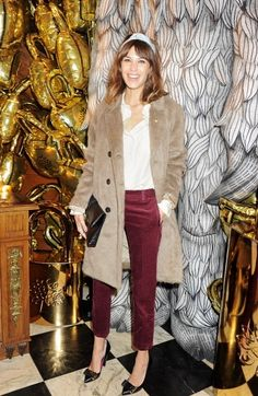 Alexa Chung - long velvet jacket with ankle length skinny jeans, white button up and pointy kitten heels