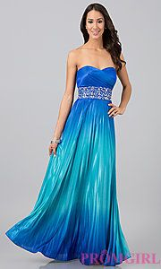 Buy Floor Length Strapless Sweetheart Ombre Dress at PromGirl