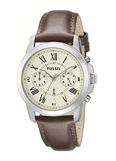 Fossil Men's FS4839 Grant Chronograph Watch With Brown Leather Band Fossil