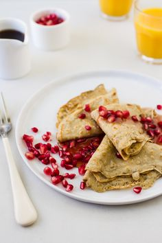 This lightly sweet homemade crepes recipe takes advantage of the French classic's adaptability, marrying flavors of fragrant rosemary, zippy orange and tart pomegranate.