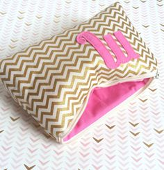 Initial Cosmetic Clutch Purse // Pink & Gold Metallic Chevron handcrafted in NYC www.shopsandrasmith.com