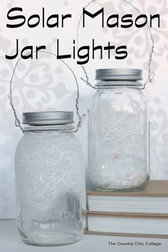 Solar Mason Jar Lights -- add these tops to your mason jars and use solar power to light up the outdoors