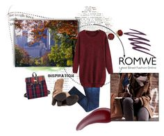 """Romwe Red Sweater"" by horsecoach ❤ liked on Polyvore featuring Lauren Ralph Lauren, rag & bone, Kensie, Butter London, Bare Escentuals and Bibiba"