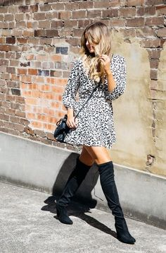Spring Outfit Idea: Pair a flirty 70s-inpsired mini dress with over-the-knee boots | 50 Flawless Spring Looks to Copy @stylecaster