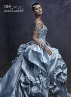 Tonya - This looks better than a Cinderella gown - stardust wedding dresses St. Couture Wedding Gowns, Bridal Gowns, Gown Wedding, Wedding Attire, Elegant Dresses, Pretty Dresses, Dresses Dresses, Fairytale Gown, Blue Wedding Dresses