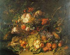 Rachel Ruysch Fruit and Flowers in a Forest 1714 97 x 132.2 cm Oil on canvas Städtische Kunstsammlungen Augsburg Karl und Magdalene Haberstock-Stiftung