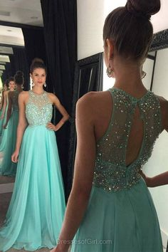 Aline Prom Dresses, Open Back Prom Dress, Chiffon Evening Gowns, Sweep Train Party Dresses, Blue Formal Dresses