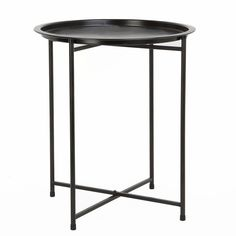 Scandinavian style, minimal and modern sturdy iron round tray table.