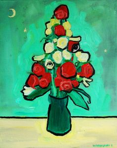 """Saatchi Online Artist Luke Anthony Bacon; Painting, """"Red with white rose in vase"""" #art"""