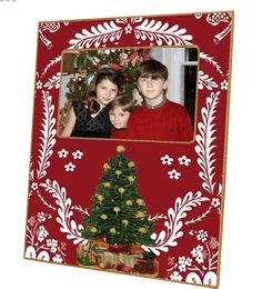 Red Provincial Christmas Tree Personalized Decoupage Picture Frame