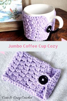 Jumbo Coffee Cup Cozy | Crochet Coffee Cup Bowl Mug Cozy with Cluster Stitch