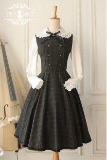 Vintage Earl Grey Tea College Style Wool Classic Lolita Jumper Dress