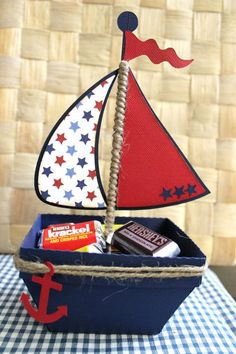 Boat Nautical Favor Box Treat Box Set Of by PaperletteDesigns Sailor Birthday, Sailor Party, Boy Birthday, Nautical Favors, Nautical Party, Nautical Invitations, Shower Bebe, Baby Boy Shower, Baby Showers Marinero