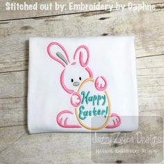 Happy Easter Bunny Satin Stitch Outline Embroidery Design: Jazzy Zebra Designs