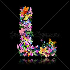 Letter L Of Flowers And A Butterfly