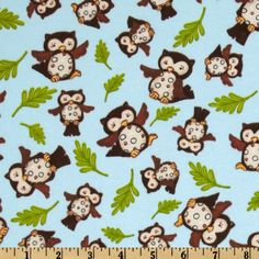Forest Friends Flannel Tossed Owls Sky
