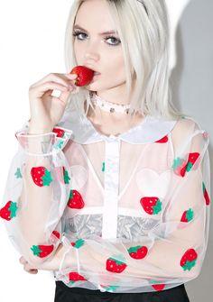 Melonhopper Strawberry Pie Sheer Blouse