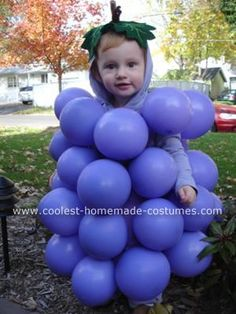 Homemade Grapes Costume: This grapes costume was a relatively simple costume to make.  She wore a purple sweatsuit (with a hood) and I made, out of a big piece of felt from the