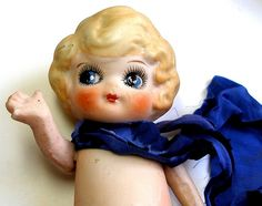 Blue Eyed Betty, vintage bisque doll. by AlliesAdornments, via Flickr