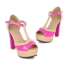 Мода Элегантный стиль обувь Женщины Классика смешанные цвета Peep Toe платформы сандалии T-ремень обуви Пряжка Толстые Туфли на высоких каблуках