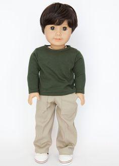 American Boy doll pants - khaki by EverydayDollwear on Etsy