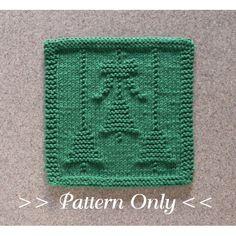 Christmas Bells & Bow knit pattern, knitting dishcloth pattern