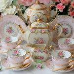 Vintage Gilded Pink Tea Trios & Vintage Gold Cutlery