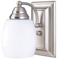 "Griffin, IVL259A01 BPT, 1 Light Vanity, Flat Opal Glass, 100 W Type A, 4 5/8"" W x 8"" H x 7 1/4"" D"