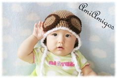 Cool Aviator Crochet Hat (Made to Order - Available in baby to adult sizes). $25,00, via Etsy.