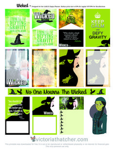 Free Printable Wicked Planner Stickers from Victoria Thatcher