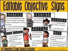 Make+life+easier+with+these+editable+objective+signs.+++You+can+type+your+text+in+the+provided+text+box+for+each+subject+area+and+post+in+your+classroom!++Your+objectives+will+pop!++ Subjects+Included: Reading+(2+versions) Phonics Writing Math Science Social+Studies Computers Art PE GYM Lunch This+is+a+power+point+file.