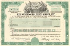 RJR Nabisco Holdings Group, Inc. Golden Parachute, Leveraged Buyout, Corporate Bonds, Time Magazine, Life Savers, Certificate, Money Frame, Group